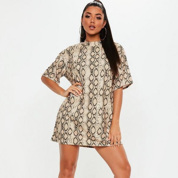 6f70d70c603 Missguided Dresses | Nude Oversized Snakeskin Tshirt Dress | Poshmark
